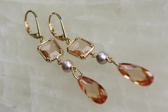 Свадьба - Sale 15 % - enter coupon code - AUGUST15OFF- Champagne Chandelier Earrings - Gifts idea, Trending Jewelry