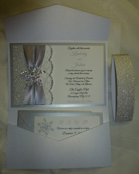 "Wedding - WINTER Wedding Invitation, Silver Glitter Wedding Invitation( sample)  -"" Let it snow  """