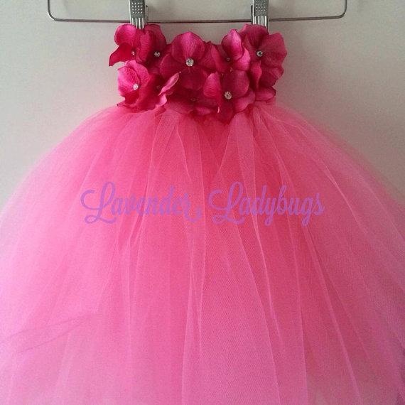 Wedding - Pink, Ivory, Lavender, White Tutu Dress; Ivory, White, Pink, Lavender Flower girl dress; Floral Tutu dress, Tulle Tutu Dress 12mos- 12 girls