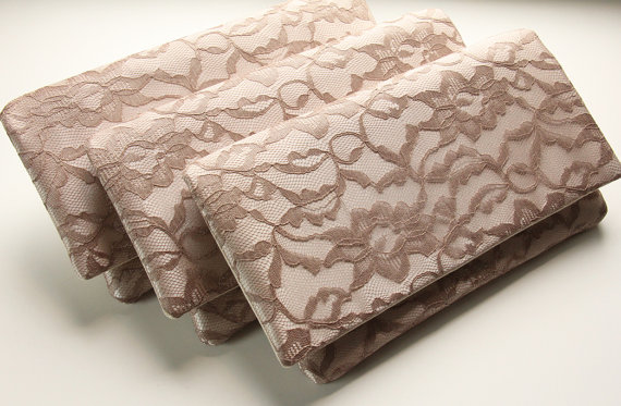 5 bridesmaid clutches lace wedding clutches taupe lace and champagne satin champagne beige - Beige slaapkamer taupe ...