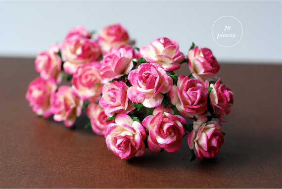 Свадьба - Paper flower,20 Pieces mulberry rose, size 1.5 cm., pink brush white color, HANDMADE.