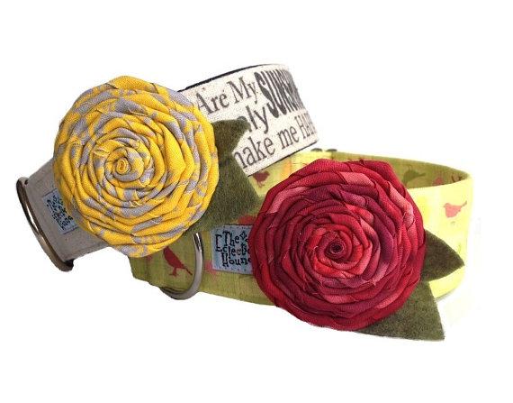 زفاف - Fabric Flower Martingale and Buckle Dog Collar Add-on