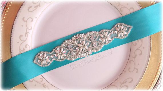 Bridal Sash,Blue,Beaded,Pearl Rhinestone Sash,Satin Wedding Belt ...