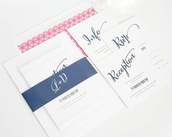 Mariage - Pink and Navy Wedding Invitation - Pink and Blue, Hot Pink, Fuchsia, Fushcia, Dark Blue - Invitations - Modern Script Design  - Sample Set
