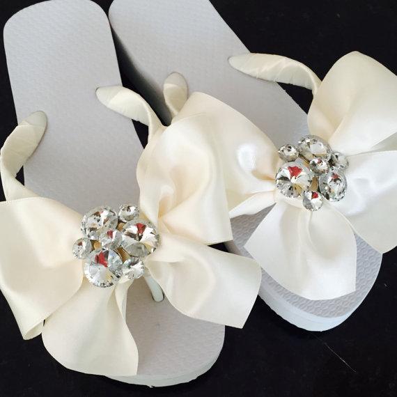 3c003f819a7b Wedding Flip Flops Wedges.Bridal Flip Flops.SERIOUS Bridal BLING BLING! Beach  Wedding Sandals.Wedding Shoes.Rhinestone Thongs.