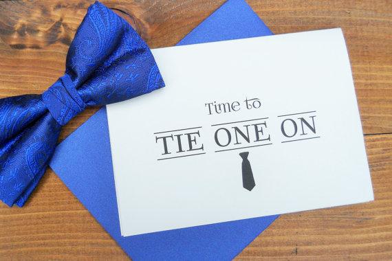 زفاف - Time To TIE ONE ON Note Card for Groomsman Groomsmen with Shimmer Envelope Wedding Stationery Wedding Card Wedding Announcement