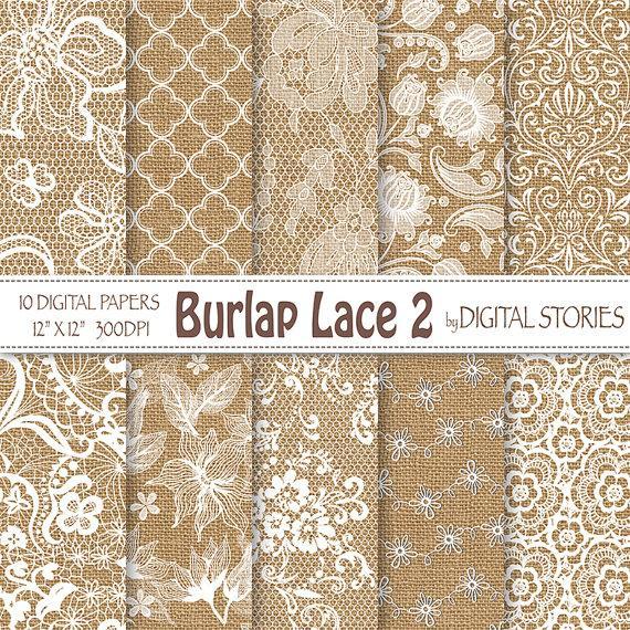 """زفاف - Burlap Lace Wedding digital paper: """"BURLAP LACE 2"""" White Wedding Vintage Lace Burlap Textured for scrapbooking, invites - Buy 2 Get 1 Free"""