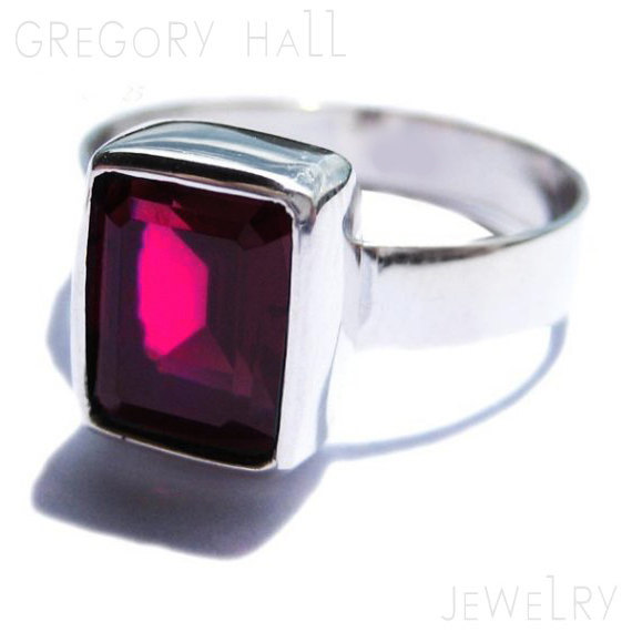 Mariage - Rhodolite Garnet Ring 925 Sterling Silver Engagement Ring