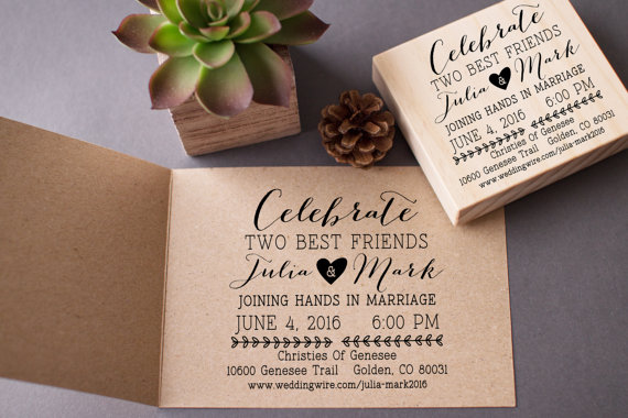 Wedding Invitation Stamp Custom Celebrate Best Friends Diy Stamp