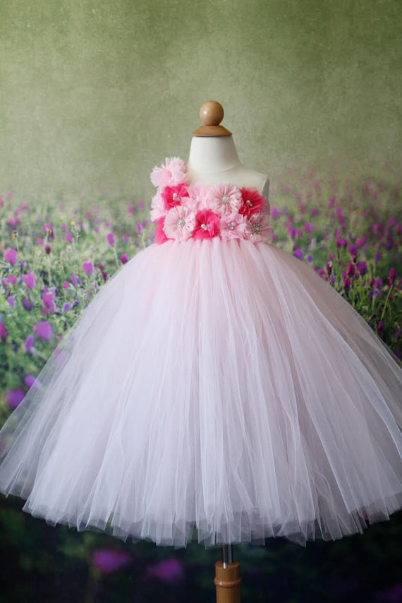 Wedding - Flower girl Dress- Hot Pink Flower girl dress- Hot Pink Flower girl dresses- Tutu Dress