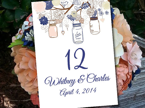 Rustic Wedding Table Number Template Download - Mason Jar Table ...