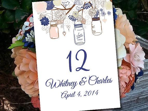 زفاف - Rustic Wedding Table Number Template Download - Mason Jar Table Number Navy Soft Coral Champagne - Wedding Seating Flat Table Number