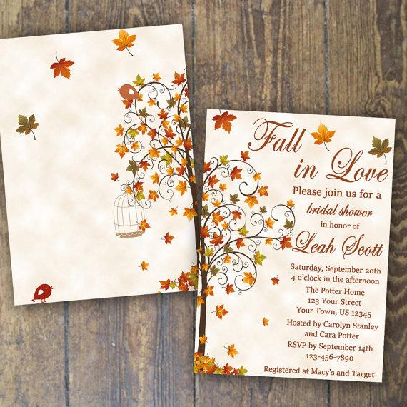 Fall Bridal Shower Invitation Fall In Love Invite Falling In Love Invitation Custom Printable