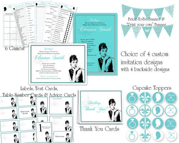 زفاف - Breakfast at Tiffany's Bridal Shower Printable Set with Games, Labels, Advice Cards, Banners, Cupcake Toppers, Thank You & Custom Invitation