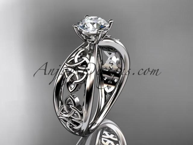 Wedding - platinum diamond celtic trinity knot wedding ring, engagement ring CT7171