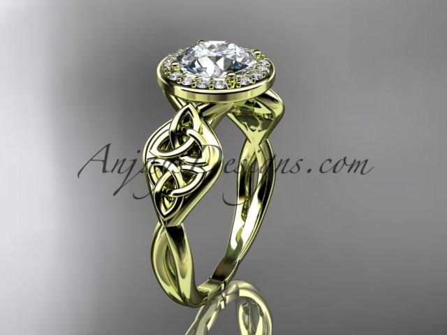 Hochzeit - 14kt yellow gold diamond celtic trinity knot wedding ring, engagement ring CT7219