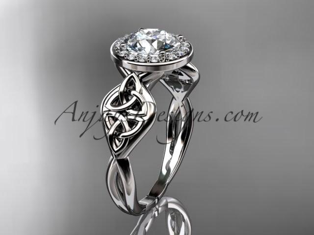 Wedding - 14kt white gold diamond celtic trinity knot wedding ring, engagement ring CT7219