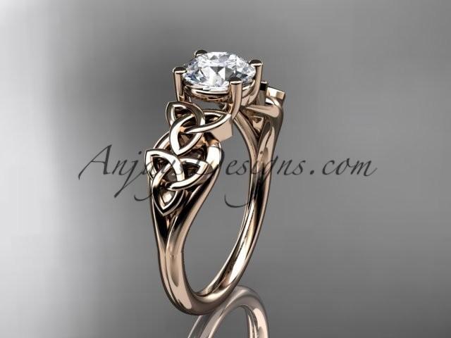 Hochzeit - 14kt rose gold diamond celtic trinity knot wedding ring, engagement ring CT7169
