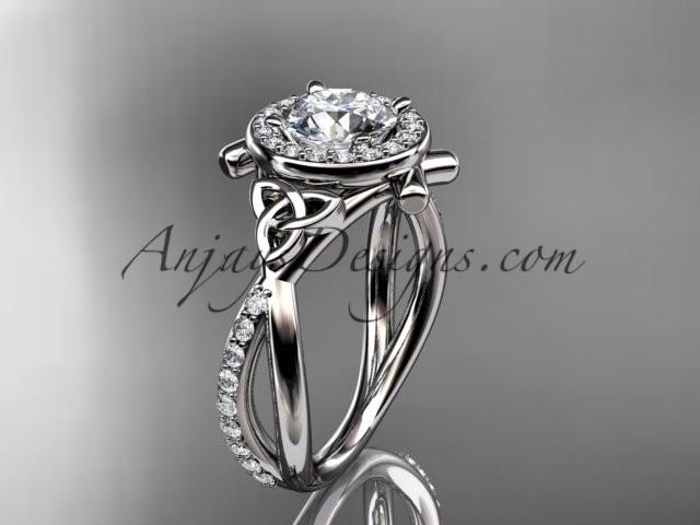 Wedding - platinum celtic trinity knot engagement ring, wedding ring CT789