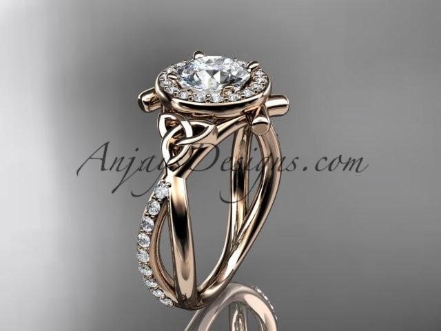Свадьба - 14kt rose gold celtic trinity knot engagement ring, wedding ring CT789
