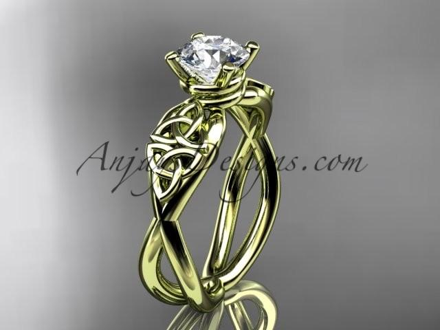 Wedding - 14kt yellow gold celtic trinity knot engagement ring, wedding ring CT770