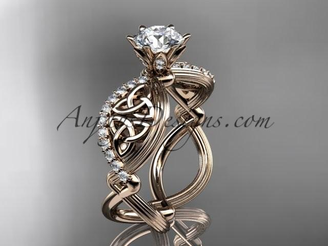 Nozze - 14kt rose gold diamond celtic trinity knot wedding ring, engagement ring CT7192