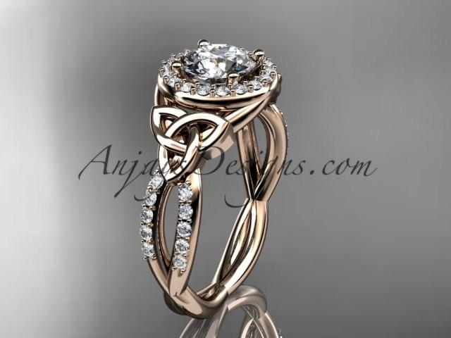 Mariage - 14kt rose gold diamond celtic trinity knot wedding ring, engagement ring CT7127