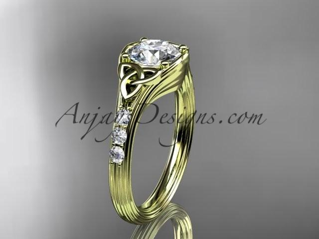 Wedding - 14kt yellow gold diamond celtic trinity knot wedding ring, engagement ring CT7333