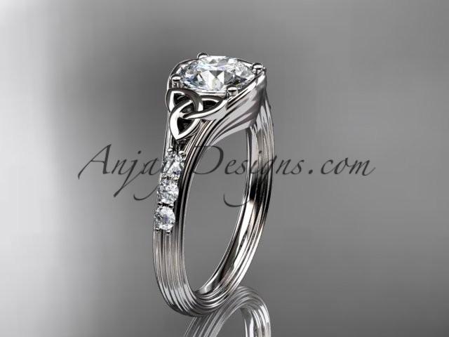 Mariage - 14kt white gold diamond celtic trinity knot wedding ring, engagement ring CT7333