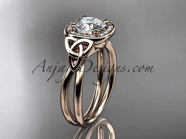 Mariage - 14kt rose gold diamond celtic trinity knot wedding ring, engagement ring CT7330
