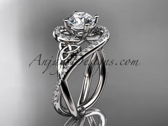 Wedding - 14kt white gold diamond celtic trinity knot wedding ring, engagement ring CT7320