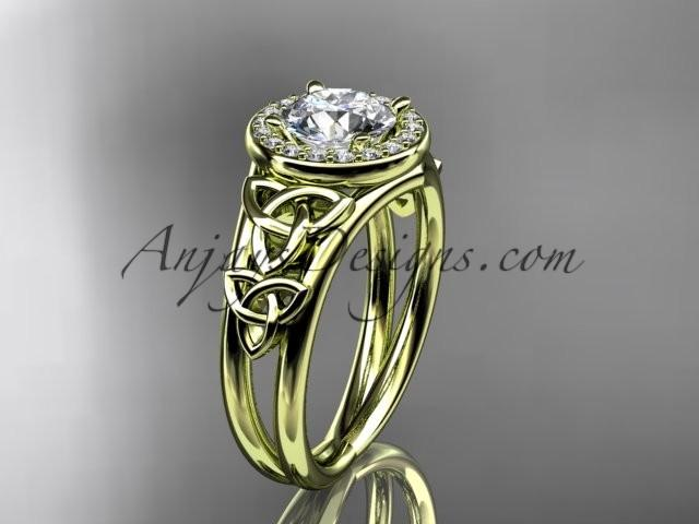 Mariage - 14kt yellow gold diamond celtic trinity knot wedding ring, engagement ring CT7131