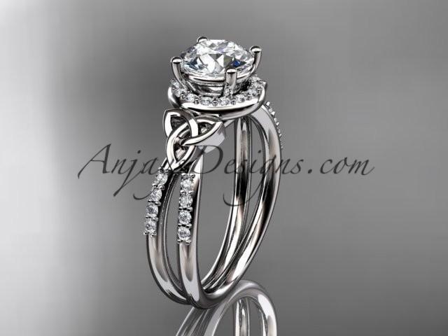 Wedding - platinum diamond celtic trinity knot wedding ring, engagement ring CT7373