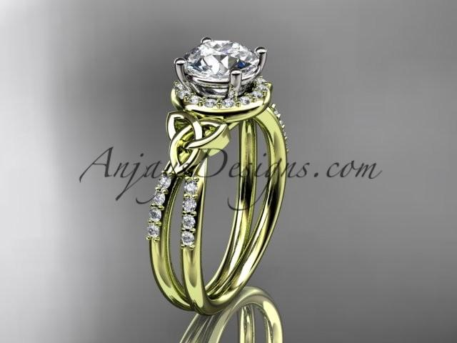 زفاف - 14kt yellow gold diamond celtic trinity knot wedding ring, engagement ring CT7373