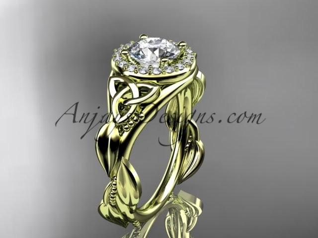 زفاف - 14kt yellow gold diamond celtic trinity knot wedding ring, engagement ring CT7327