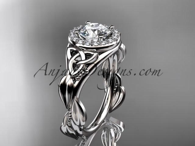 Mariage - 14kt white gold diamond celtic trinity knot wedding ring, engagement ring CT7327