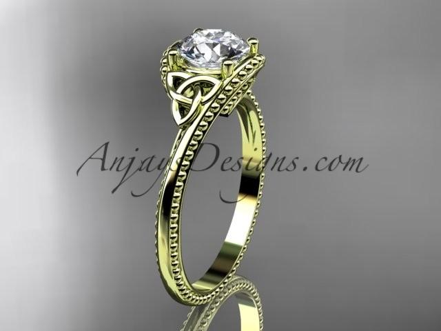 Nozze - 14kt yellow gold diamond celtic trinity knot wedding ring, engagement ring CT7322