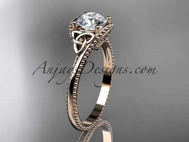 Wedding - 14kt rose gold diamond celtic trinity knot wedding ring, engagement ring CT7322