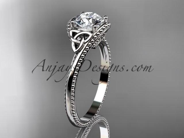 Wedding - 14kt white gold diamond celtic trinity knot wedding ring, engagement ring CT7322