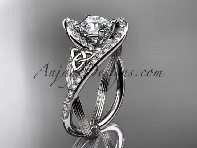 Wedding - platinum diamond celtic trinity knot wedding ring, engagement ring CT7369