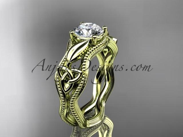 Hochzeit - 14kt yellow gold diamond celtic trinity knot wedding ring, engagement ring CT7382