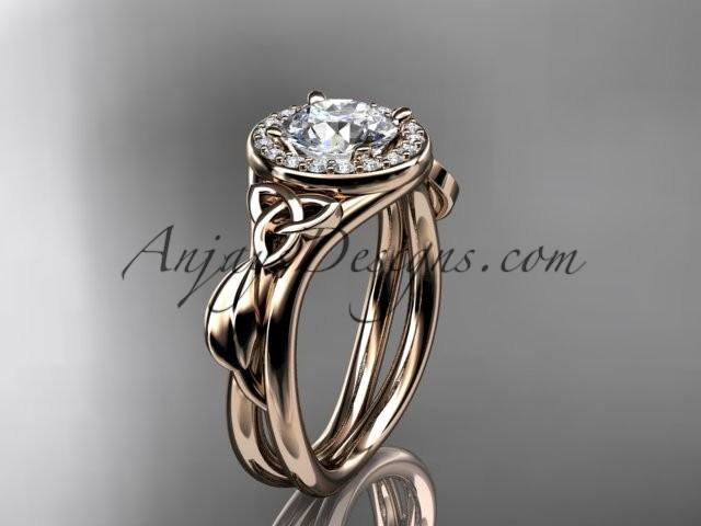 Wedding - 14kt rose gold diamond celtic trinity knot wedding ring, engagement ring CT7314