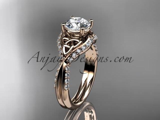 Свадьба - 14kt rose gold diamond celtic trinity knot wedding ring, engagement ring CT7224