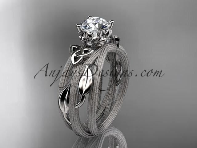 Wedding - 14kt white gold diamond celtic trinity knot wedding ring, engagement ring CT7253