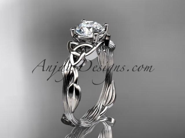 Düğün - 14kt white gold diamond celtic trinity knot wedding ring, engagement ring CT7251