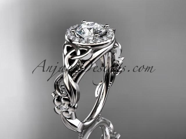 زفاف - 14kt white gold diamond celtic trinity knot wedding ring, engagement ring CT7300