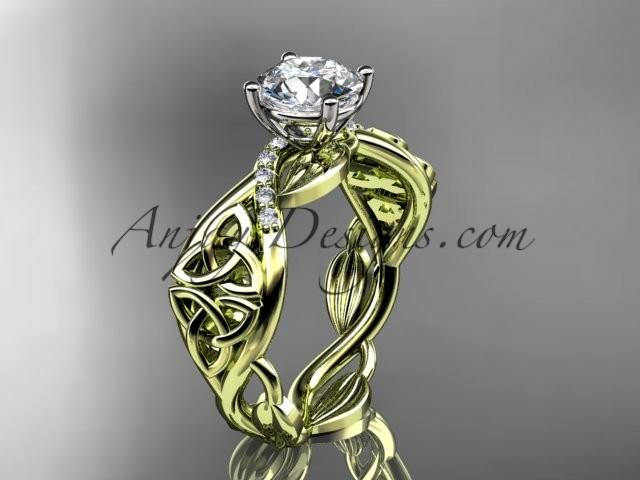 Mariage - 14kt yellow gold diamond celtic trinity knot wedding ring, engagement ring CT7270