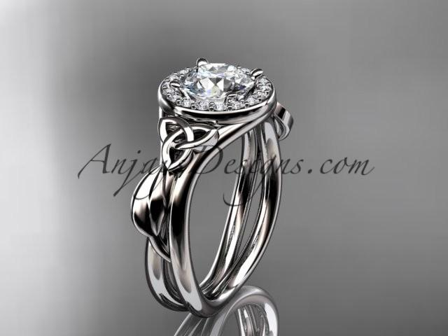Wedding - 14kt white gold diamond celtic trinity knot wedding ring, engagement ring CT7314