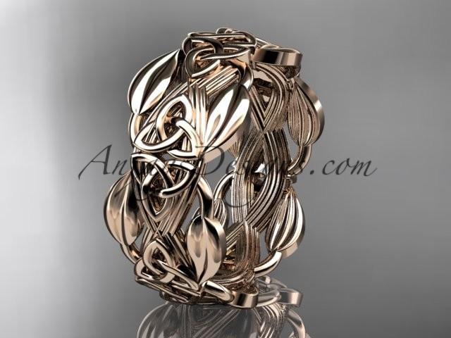 14kt Rose Gold Diamond Celtic Trinity Knot Wedding Band, Engagement ...