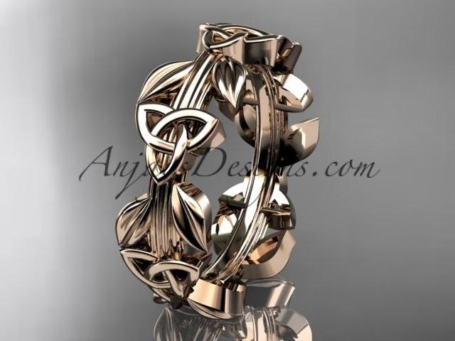 Wedding - 14kt rose gold diamond celtic trinity knot wedding band, engagement ring CT7316B